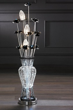 Metal Flower Basket Floor Lamp