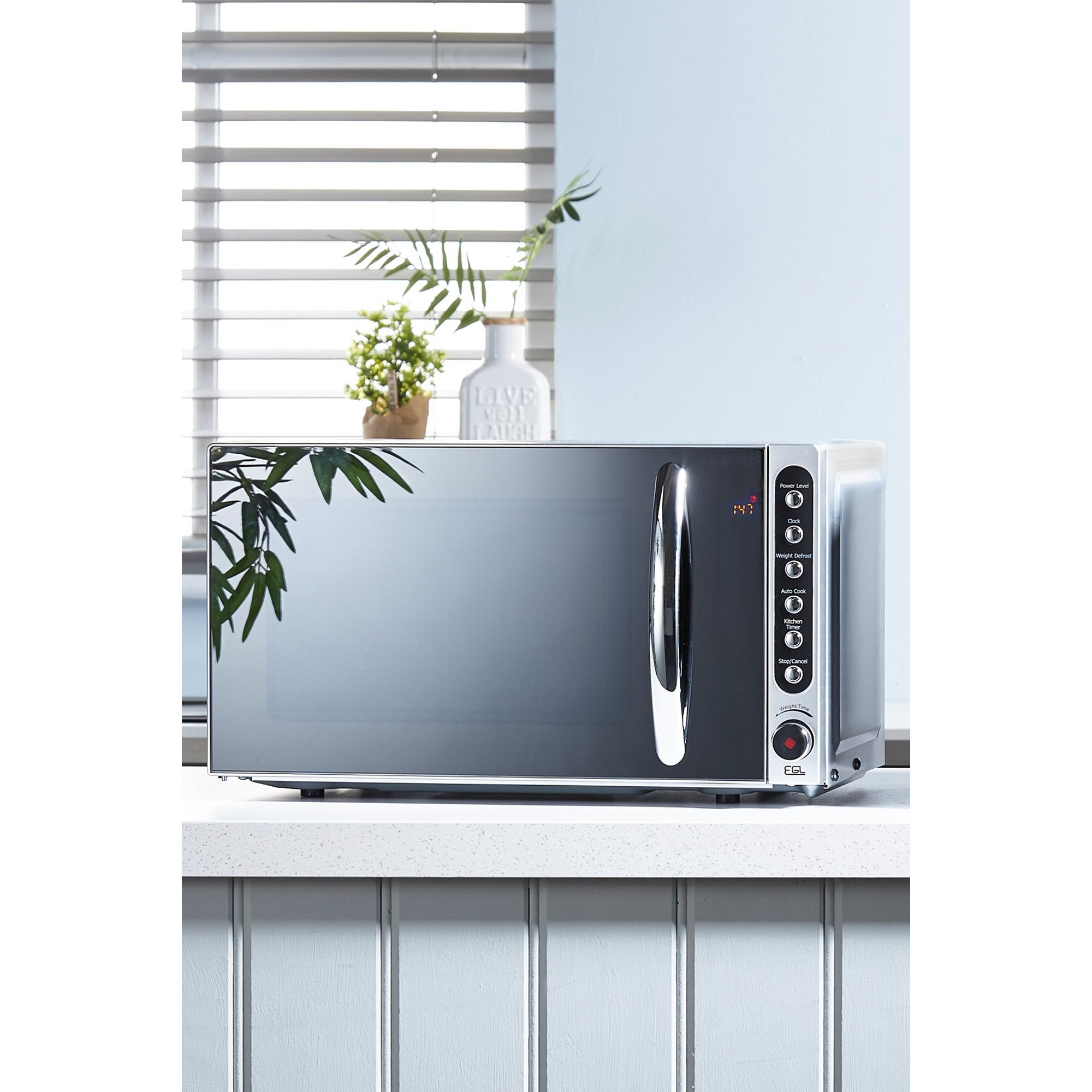 Image of 800W Mirrored Microwave