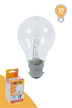 Pack Of 10 42w BC Halogen GLS Shape Light Bulbs
