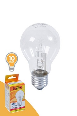 Pack Of 10 42w ES Halogen GLS Shape Light Bulbs
