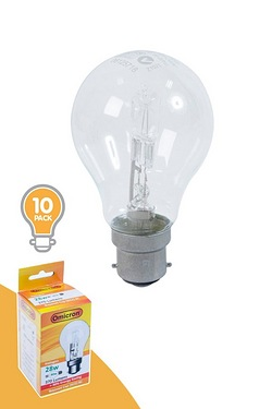 Pack Of 10 28w BC Halogen GLS Shape Light Bulbs