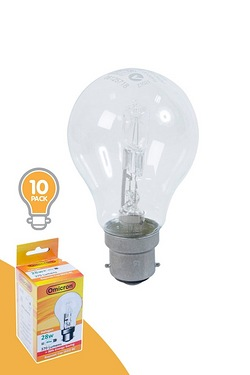 Pack Of 10 28w ES Halogen GLS Shape Light Bulbs