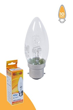 Pack Of 10 42w BC Halogen Candle Shape Light Bulbs