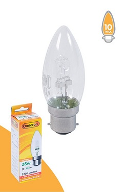Pack Of 10 28w BC Halogen Candle Shape Light Bulbs