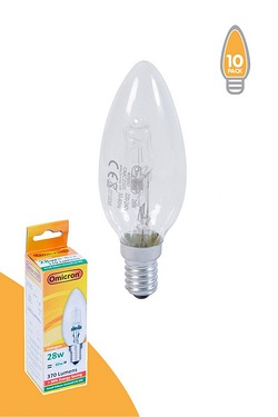 Pack Of 10 28w SES Halogen Candle Shape Light Bulbs
