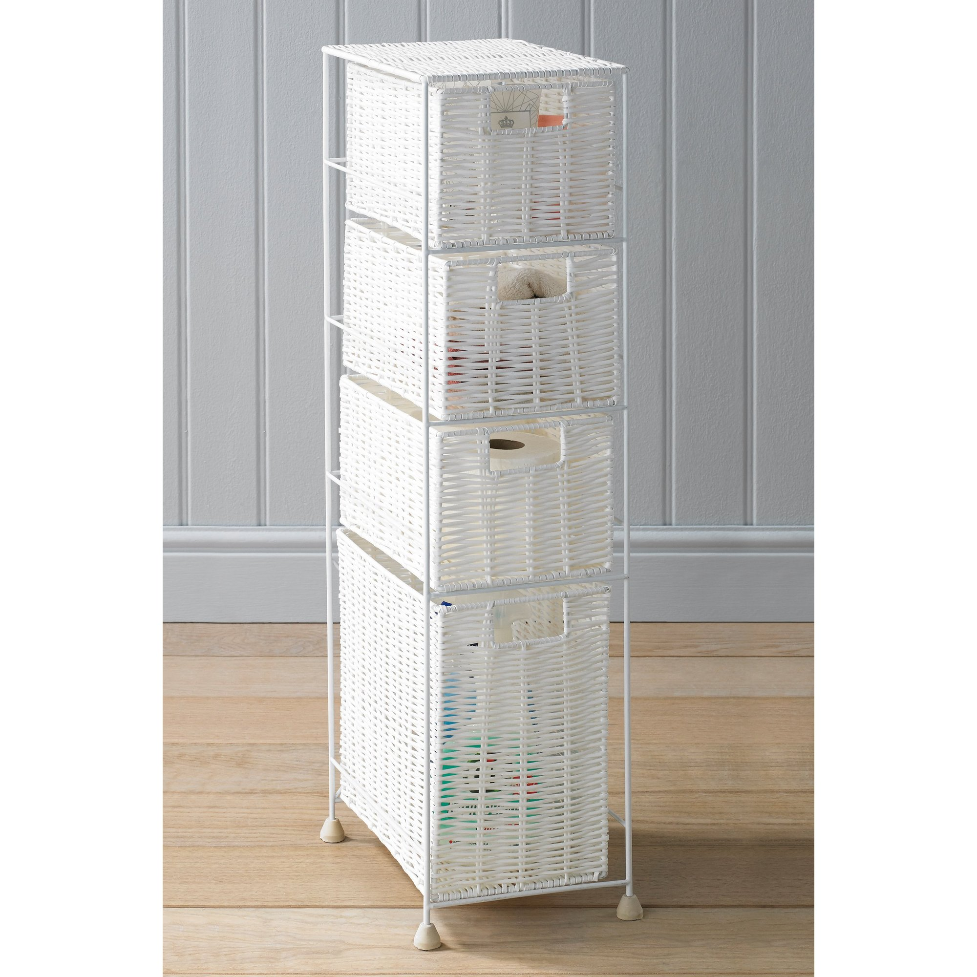 Image of 4 Drawer Rattan-Effect Unit