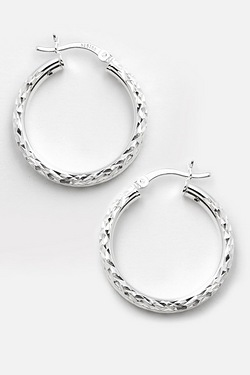Silver 25mm Tube Creole Earring