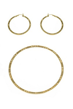 Footprint Bangle And Earring Set