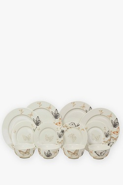 12-Piece New Bone China Butterfly Dinner Set