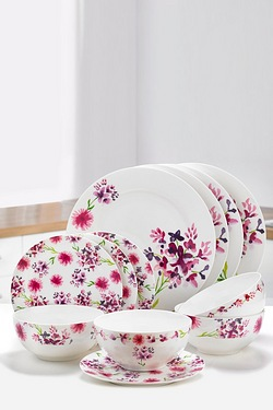 12-Piece New Bone China Spring Floral Dinner Set
