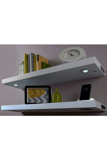 best service 0f083 4f7bb White Floating Shelf with LED Lights
