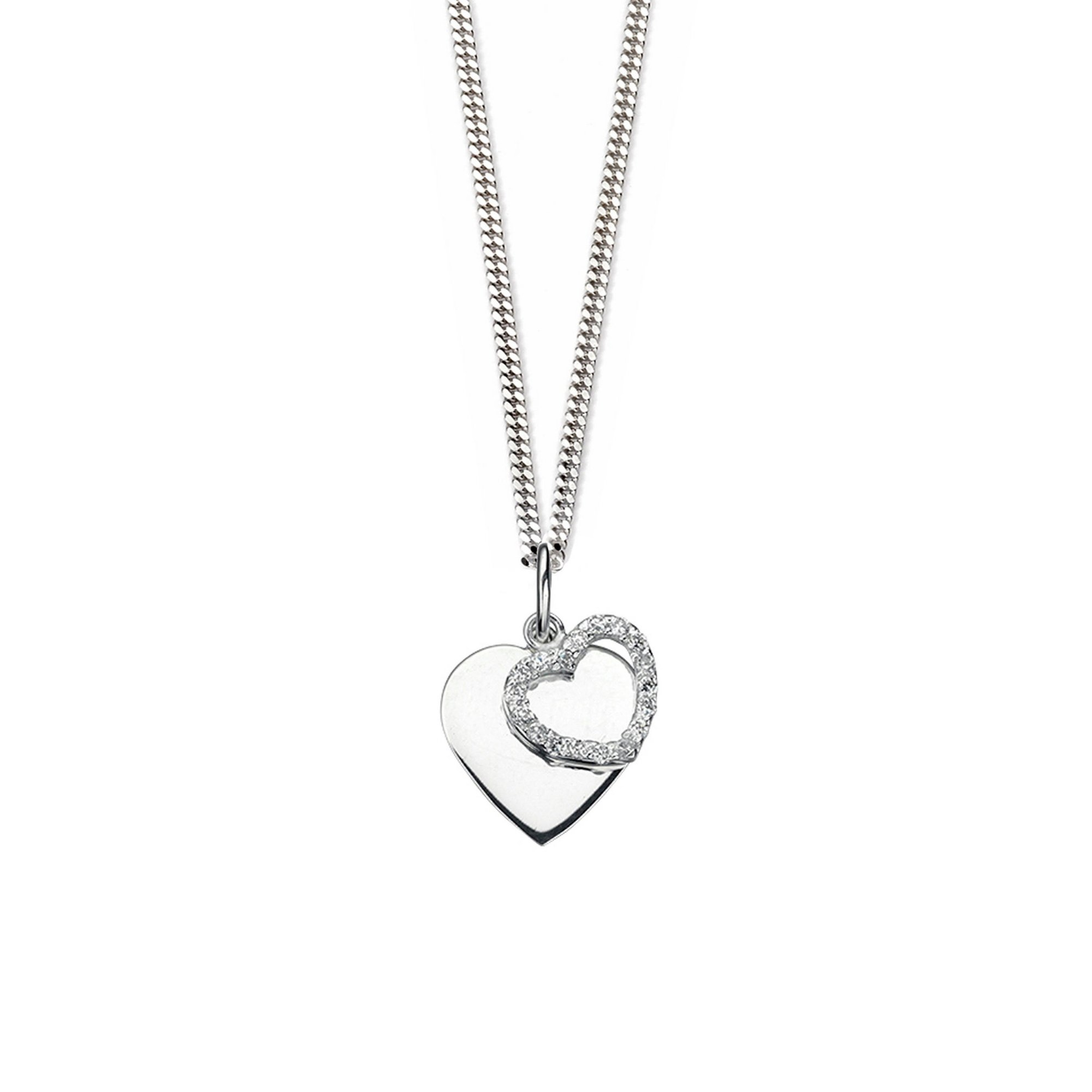 Image of Clear CZ Double Heart Pendant