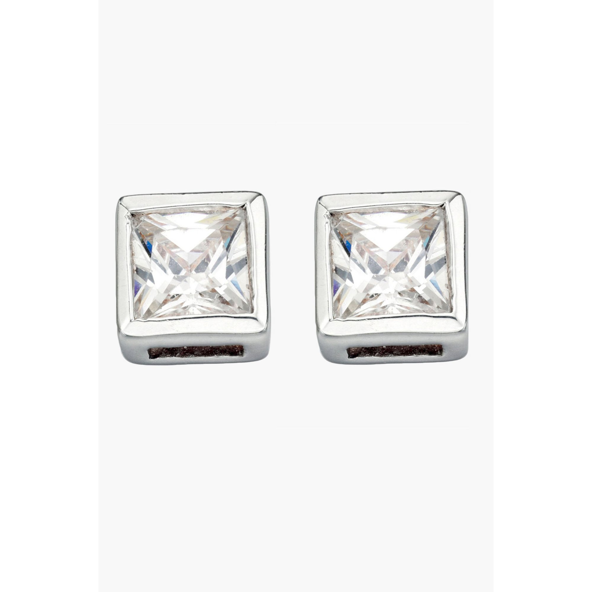 Image of Clear CZ Square Stud Earrings