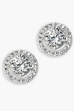 Pave Disc Stud Earrings With Clear Round CZ