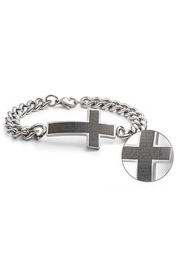 Stainless Steel Gents Cross Bracelet