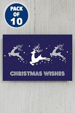 10 Blue Leaping Reindeer Tags