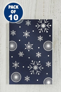 10 Foil Gift Tags - Navy Snowflake