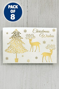 8 Self-Adhesive Foil Tags - Gold Reindeer and Tree