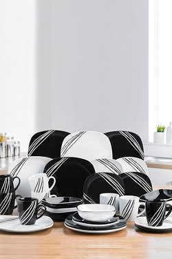16+16-Piece FREE Black/White Lined Dinner Set
