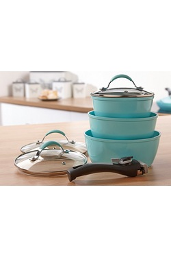 3-Piece Mint Green Saucepans With Detachable Handle