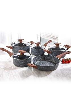 5-Piece Cookware Set With Wood-Effect Handles