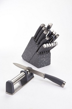 Granite-Effect Knife Block With FREE Sharpener