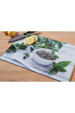 Glass Mint Leaves Chopping Board