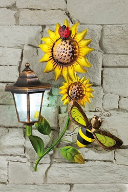 Solar Wall Plaque - Bee and Flower