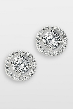 Elements Silver Pave Disc Stud Earring