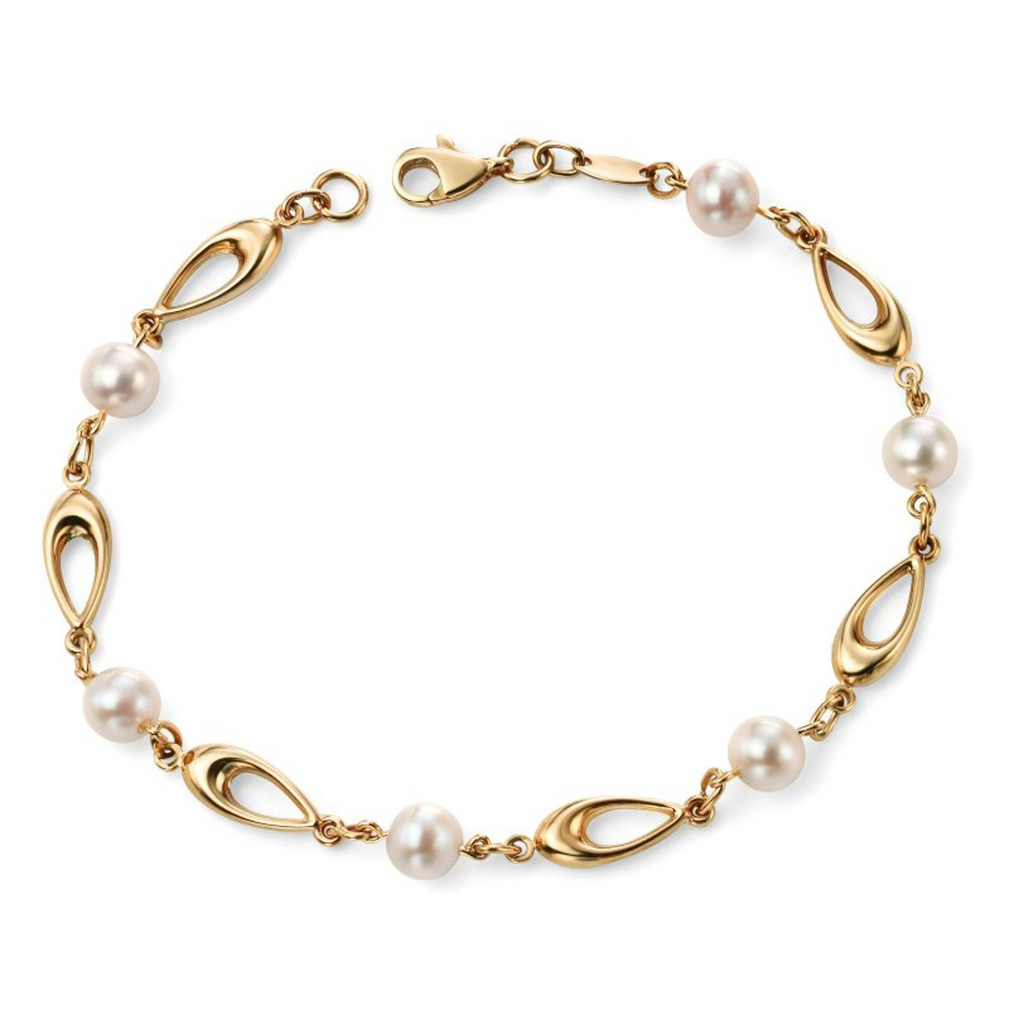 Image of Elements 9ct Yellow Gold Link Bracelet with White Freshwater Pearls