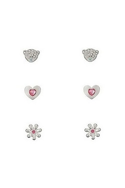 Me To You Bear Flower And Heart Earrings
