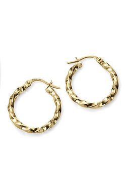 9ct Yellow Gold Chunky Twisted Earrings