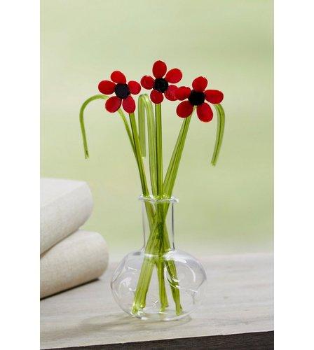 Glass Flowers In Vase Poppies Studio