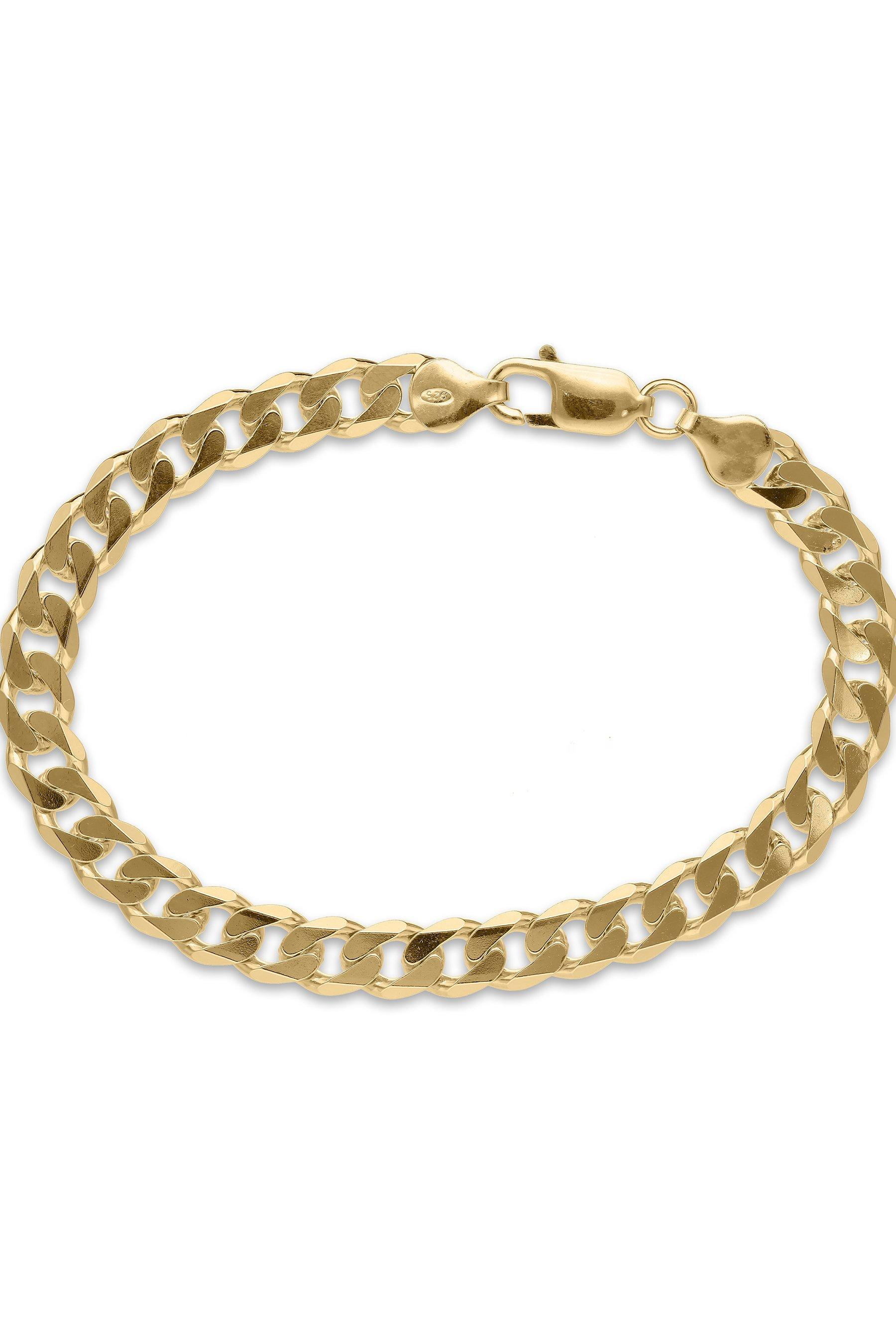 8 inch gold plated silver solid curb chain bracelet