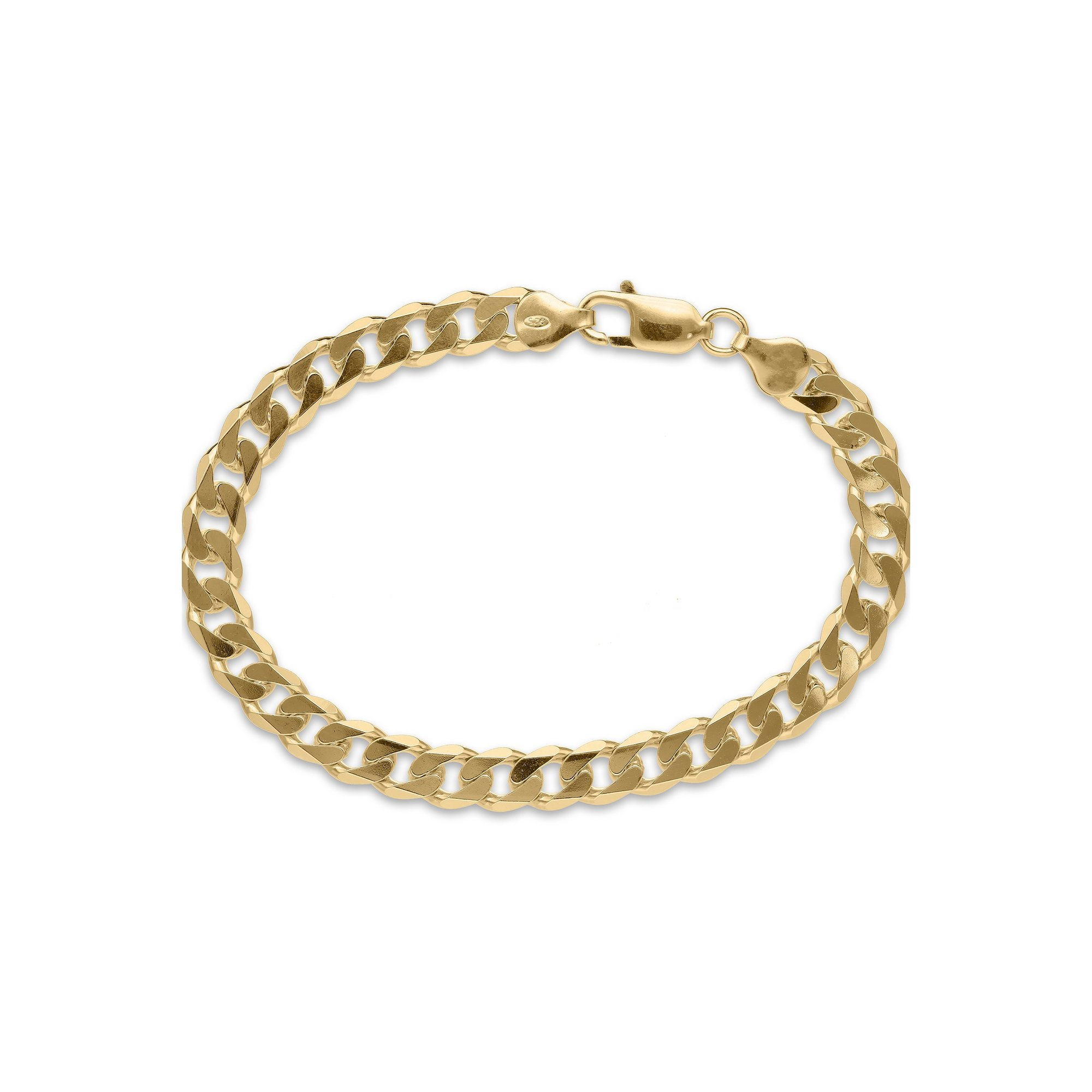 Image of 8 Inch Gold Plated Silver Solid Curb Chain Bracelet