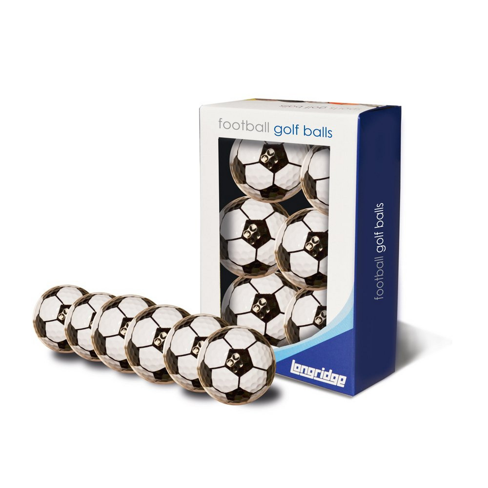 Image of Longridge Pack of 6 Football Print Golf Balls