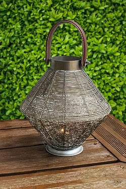 Leather Effect Handle Wire Mesh Lantern