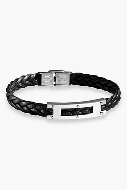 "Gents 8.5"" Stainless Steel Black Leather Bracelet"