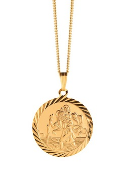 "Gold Plated St Christopher 18"" Chain"