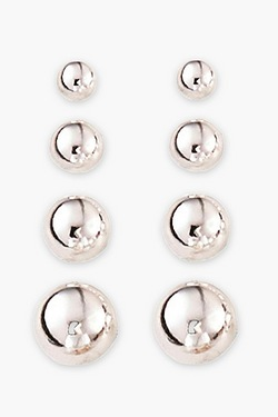 Sterling Silver Set Of 4 Ball Studs