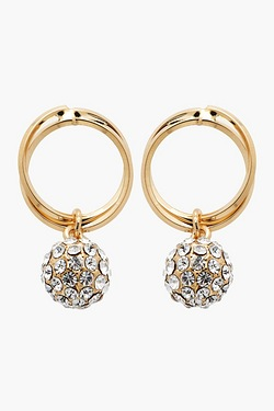18ct Yellow Gold Plated Hoop Drop Earrings