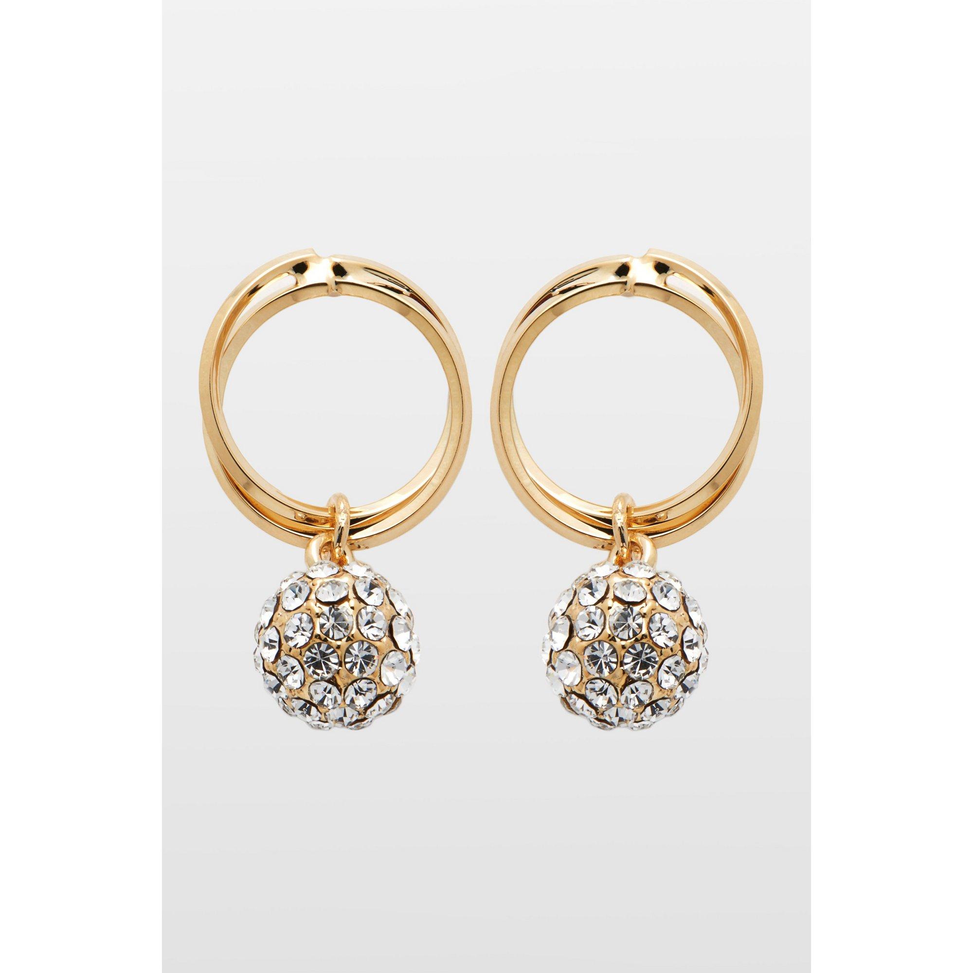 Image of 18ct Gold Plated Hoop Drop Earrings