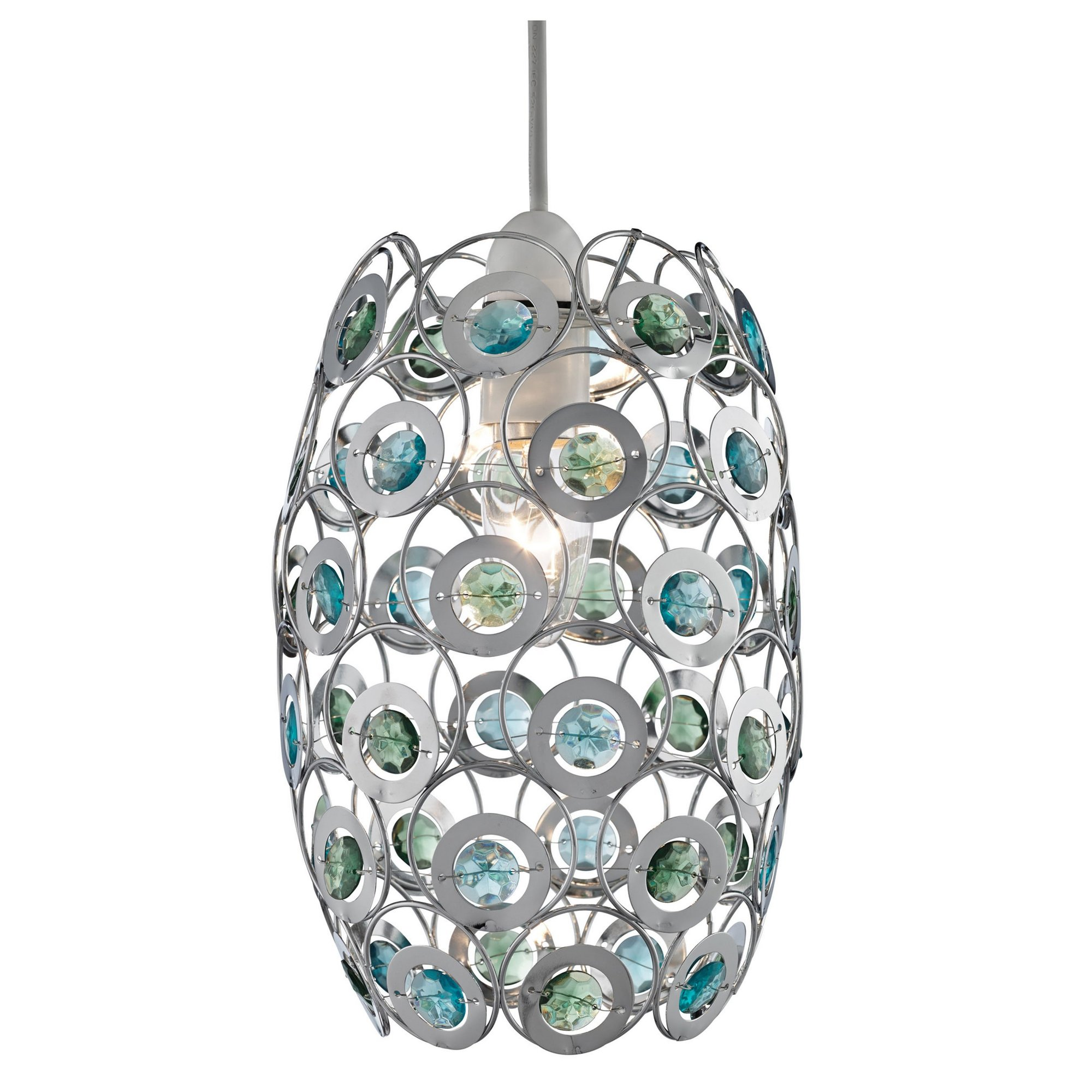 Image of Chrome and Acrylic Bead Easy Fit Light Shade