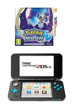 Nintendo Black and Turquoise 2DS XL + Pokemon Moon