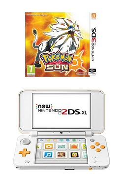 Nintendo White and Orange 2DS XL + Pokemon Sun