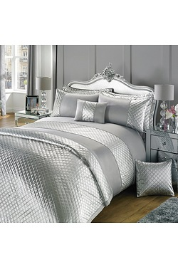 Silver Metallic Quilted Duvet Set