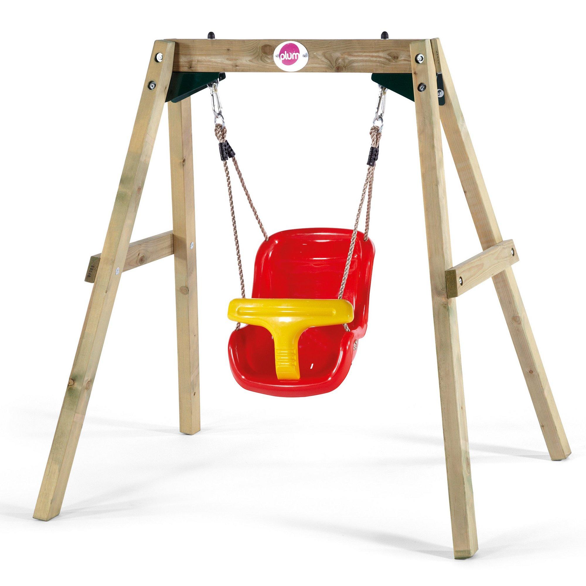 Image of Plum Wooden Baby Swing Set