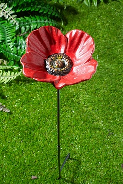 Metal Flower Bird Feeding Dish - Poppy