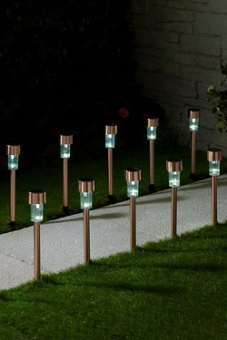 Pack Of 10 Copper-Effect Solar Lights