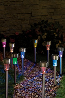 Pack Of 10 Stainless Steel Colour Changing Solar Lights